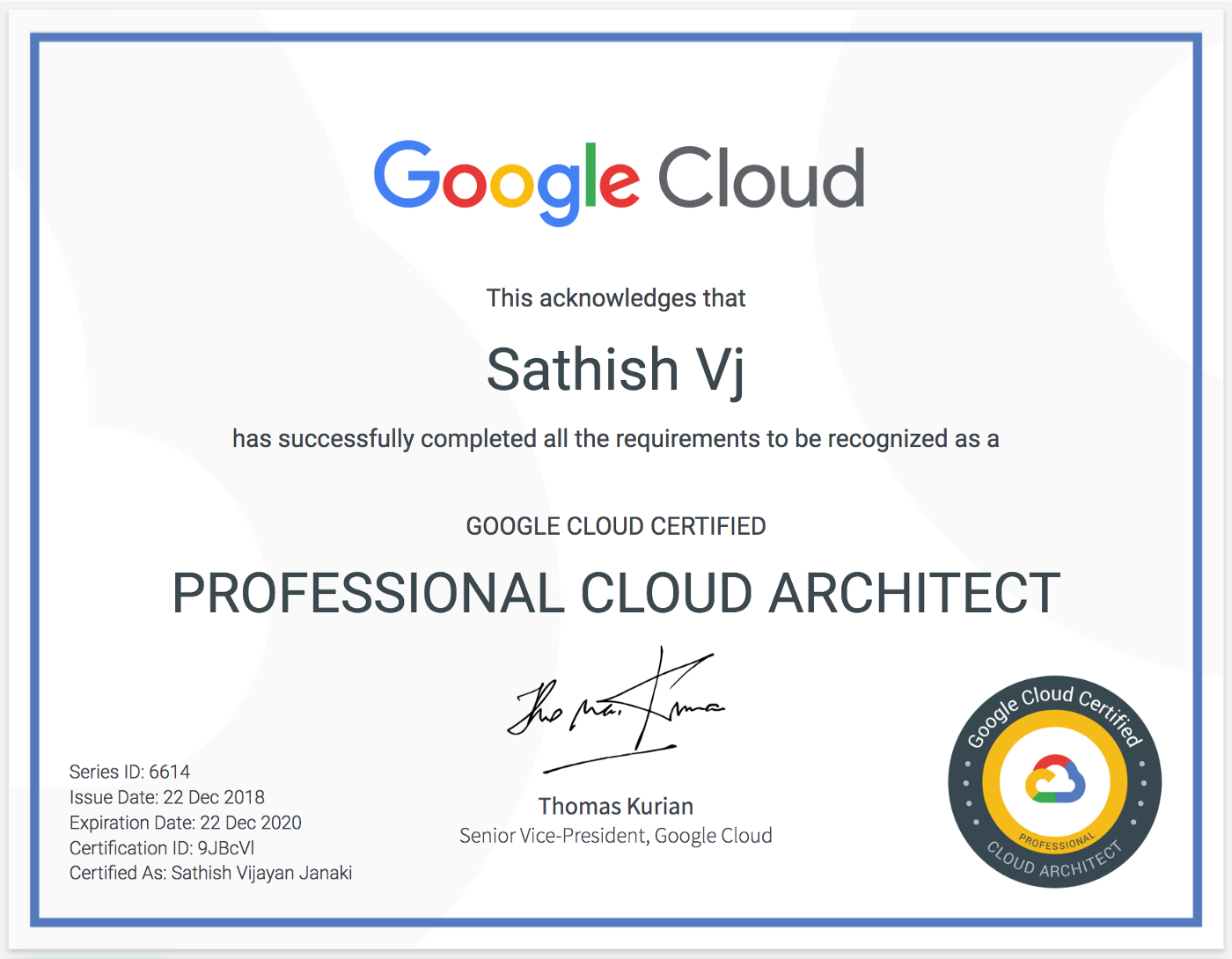 Notes from my Google Cloud Professional Cloud Architect Exam