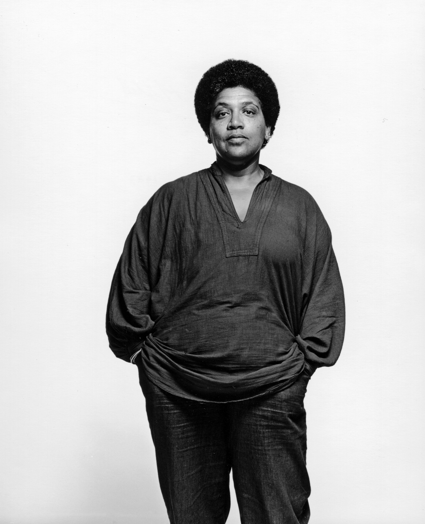 Black and white photo of Audre Lorde in 1983.