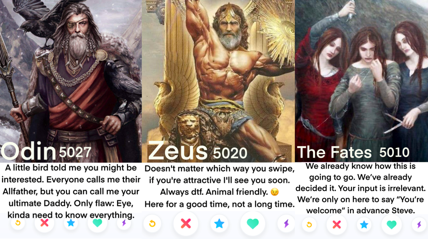 Made up Tinder Profiles of mythology characters: Odin, Zeus & The Fates