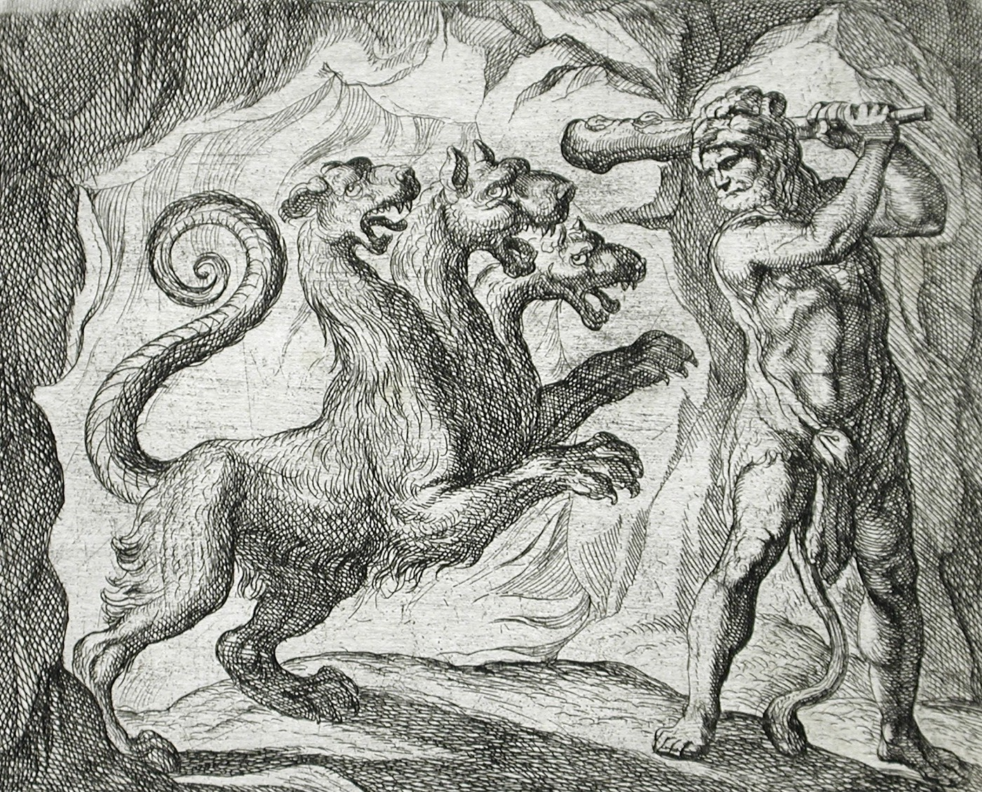Cerberus and Heracles. Etching by Antonio Tempesta