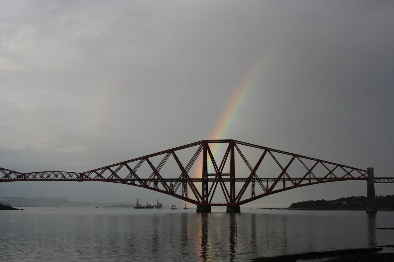 The Forth Rail Bridge and a rainbow.