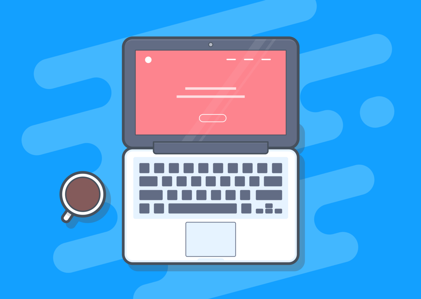 A coffee mug and a laptop computer against a sky blue background.
