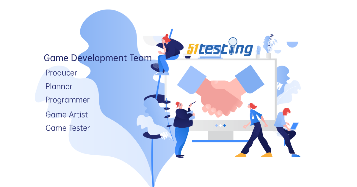 A game development team of producer, planner, programmer, game artist and game tester.