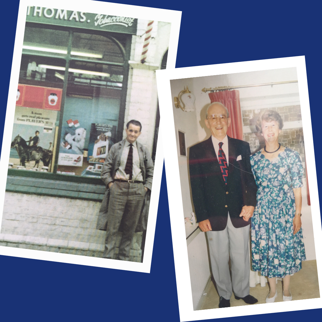 The author's two Grandfathers. One a barber standing underneath a barber's red and white pole, the other a butcher, pictured with his wife.