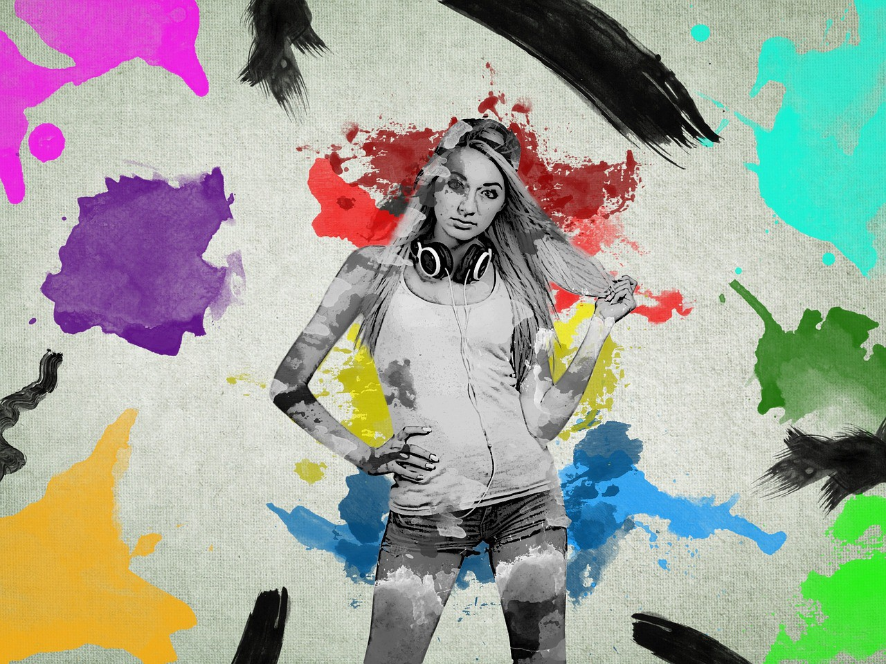 A pencil drawing of a teenage girl in a tanktop and jeans. Multicolored paint splotches cover and surround the whole drawing.