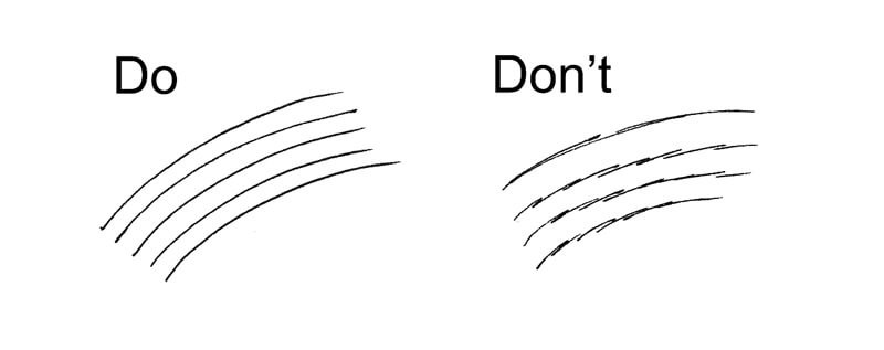Do this, don't do that. A typical lesson in confident drawing, taken from thevirtualinstructor.com