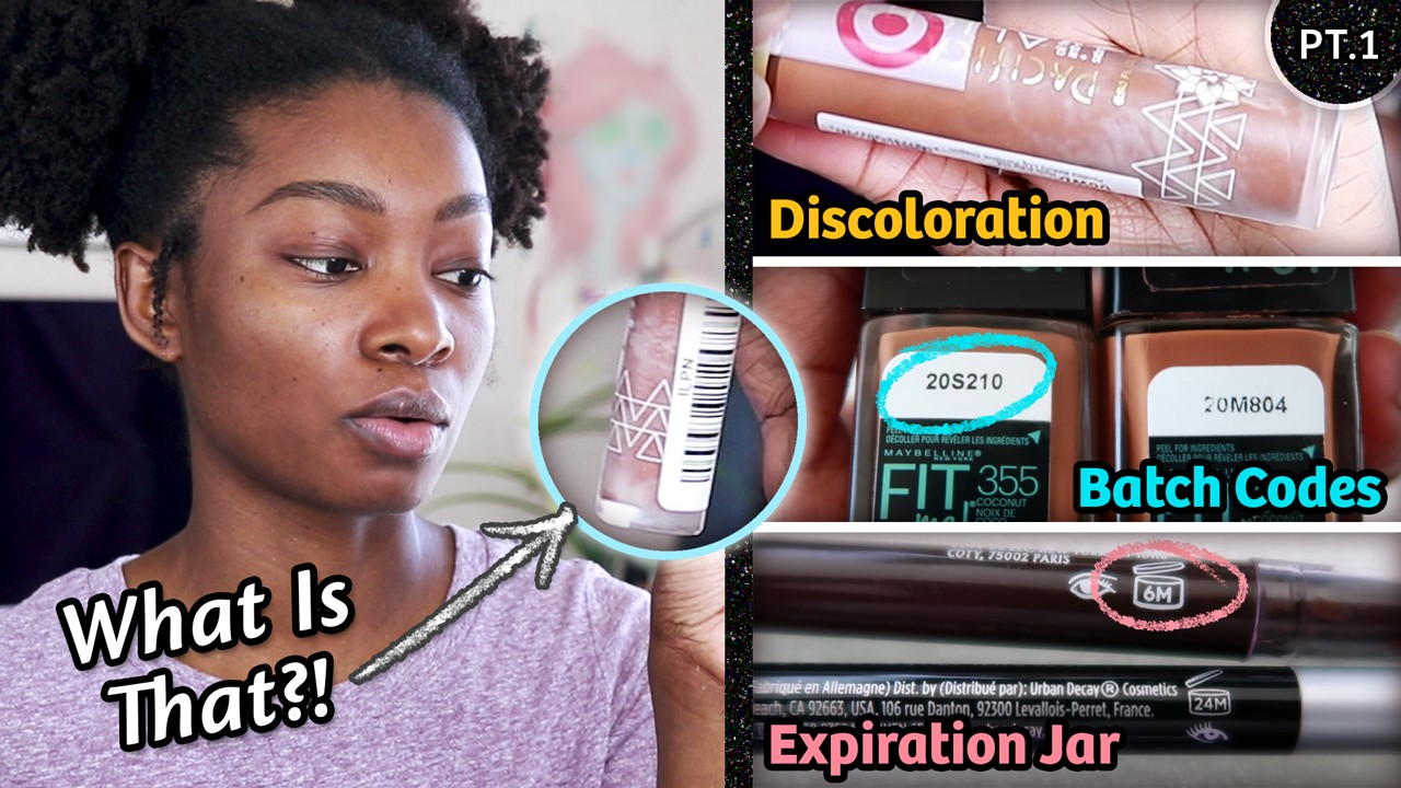 A bottle of Pacifica Alight Clean Foundation with discoloration, Maybelline Fiy Me foundation batch codes & expiration jars.