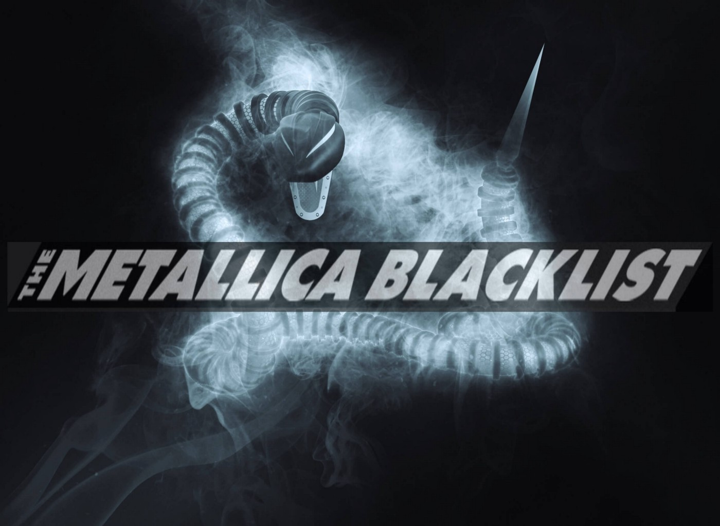 Metallica's The Black List lettering over a heavy metal snake black background to celebrate the Black Album 30th Anniversary.