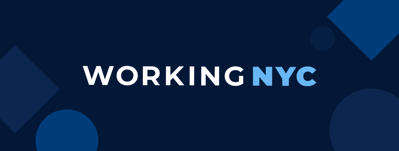"""A black banner with white and blue letters that read """"WORKINGNYC"""""""