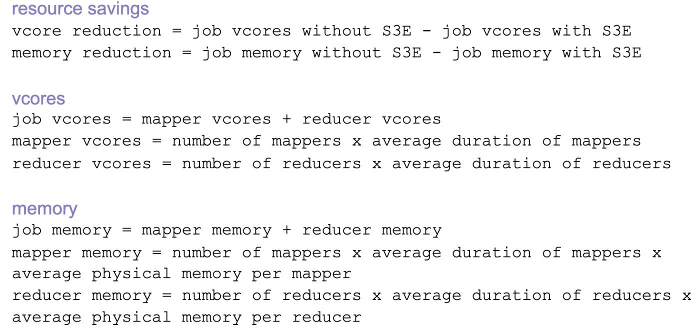 resource savings vcore reduction = job vcores without S3E—job vcores with S3E memory reduction = job memory without S3E—job memory with S3E vcores job vcores = mapper vcores + reducer vcores mapper vcores = number of mappers x average duration of mappers reducer vcores = number of reducers x average duration of reducers memory job memory = mapper memory + reducer memory mapper memory = number of mappers x average duration of mappers x average physical memory per mapper reducer memory = numbe
