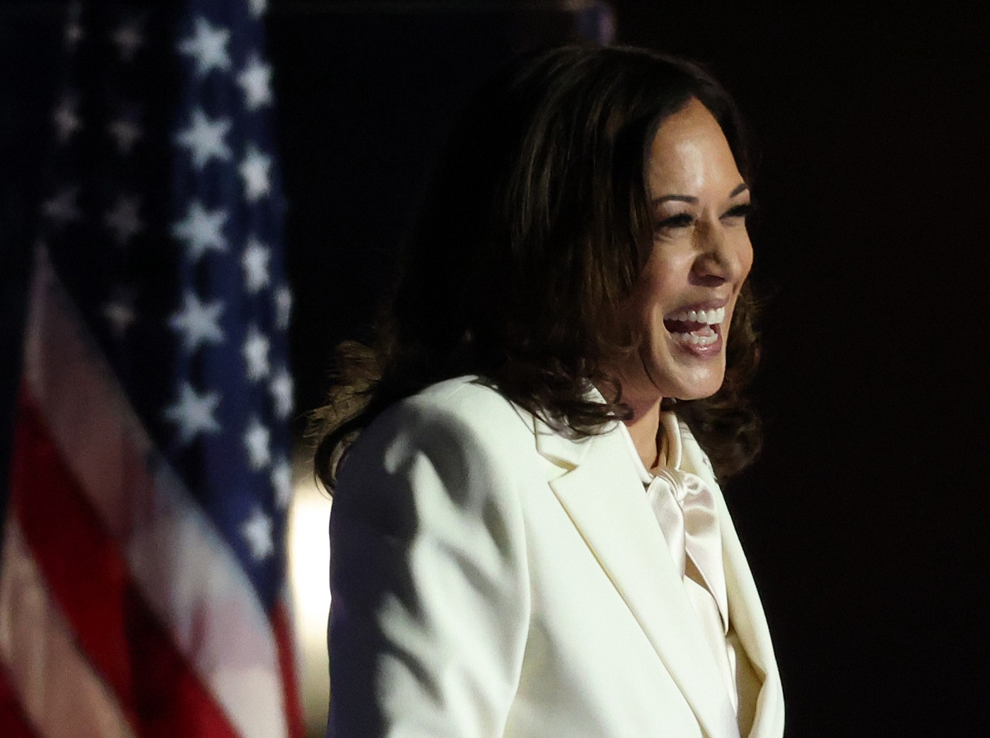 Vice President-elect Kamala Harris speaks on stage at the Chase Center.