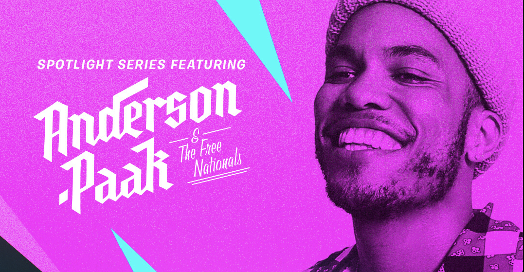 A branded web banner promoting Anderson.Paak and The Free Nationals concert for Fortnite's Spotlight Series