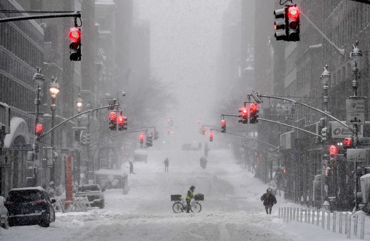 A snow covered street in midtown during a winter storm on February 1, 2021 in New York City.
