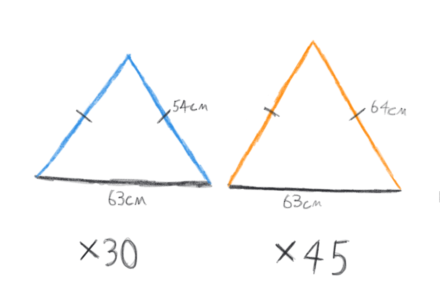 Dimensions of triangles for pentagons and triangles