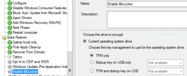 Pre-Provision Bitlocker Full Disk Encryption with MBAM in MDT or