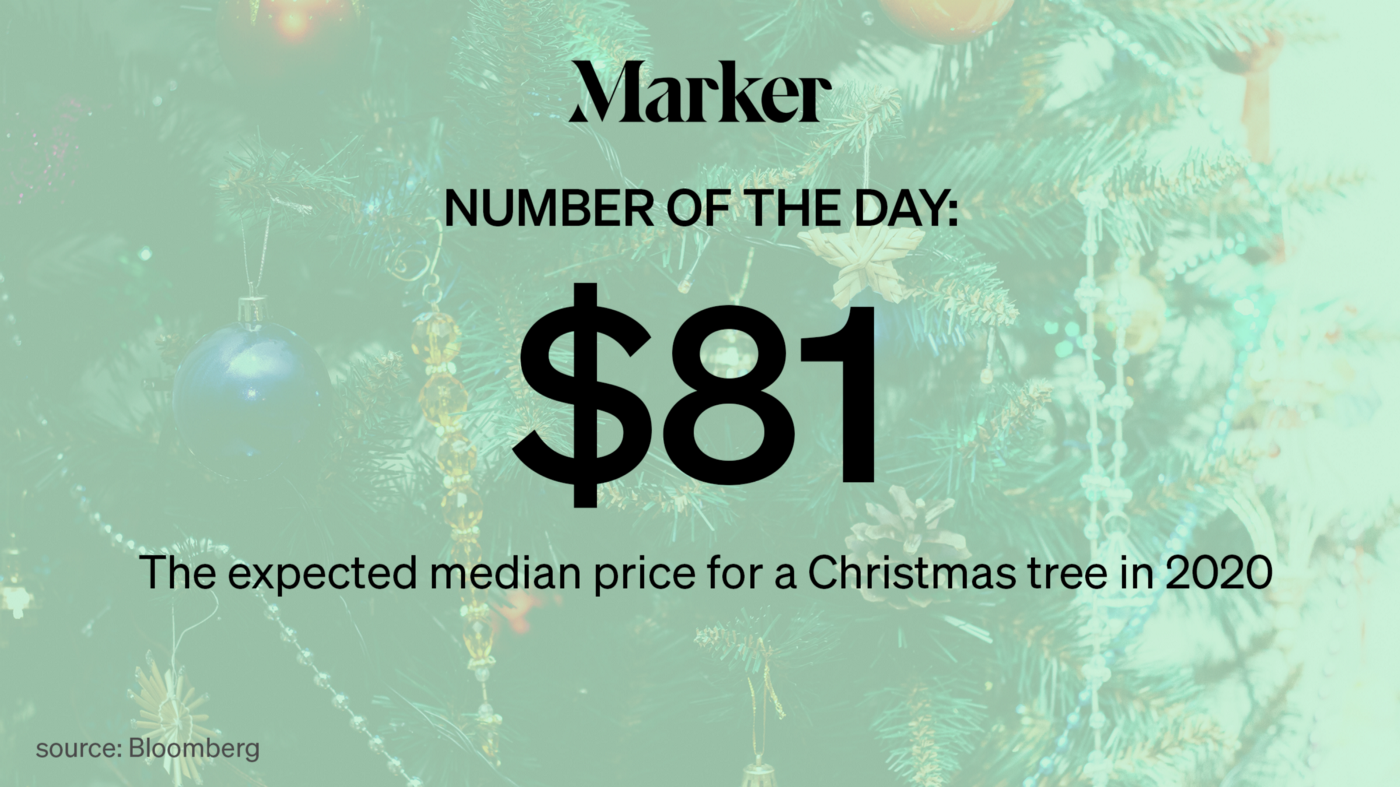 """Marker Number of the Day — $81: The expected median price for a Christmas tree in 2020 Bloomberg"" text over a Christmas tree"
