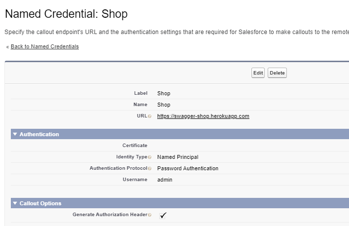 Named Credential Setup to access External Service