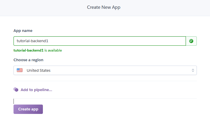 """After signing up create new App. Title it something like """"tutorial-backend"""". underscores are not allowed"""