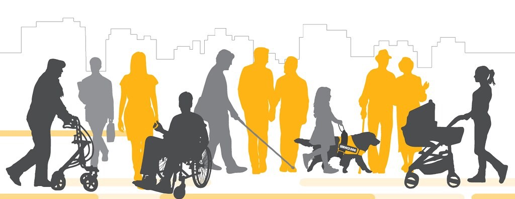 Image portraying various individuals with varying disabilities, including people using a walker, stroller, wheelchair, cane, and service dog. Folks without any equipment are also shown, implying invisible disabilities.