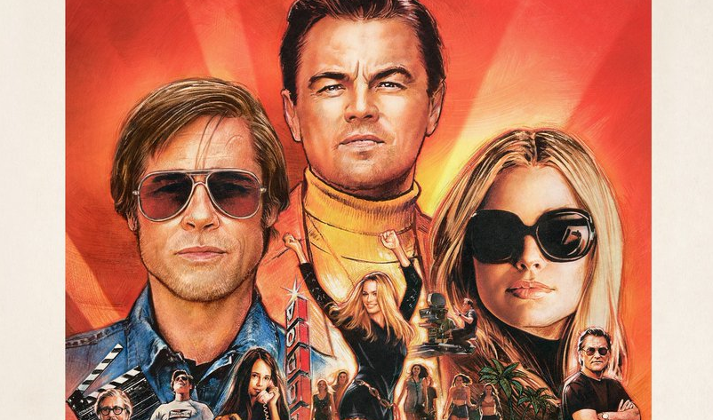 Once Upon a Time... in Hollywood poster featuring Brad Pitt, Leo DiCaprio, and Margot Robbie