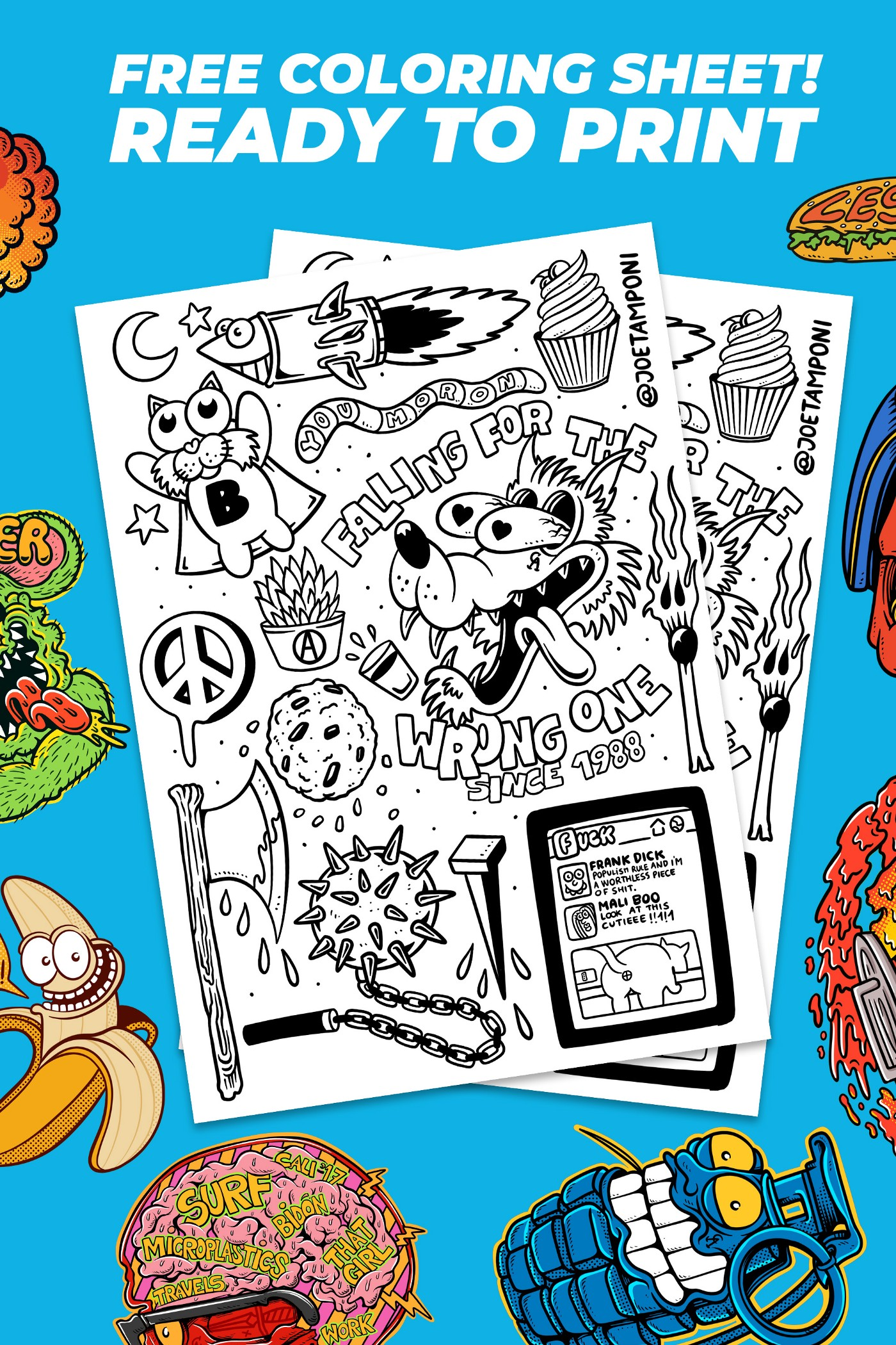 Free coloring page—Illustrated doodle project #1