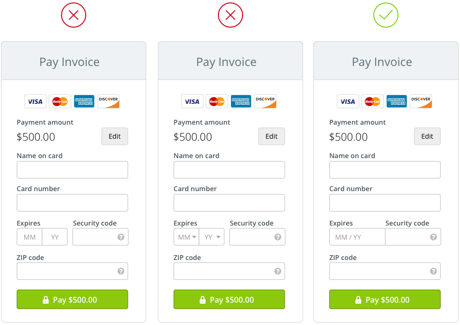 The anatomy of a credit card form - UX Collective