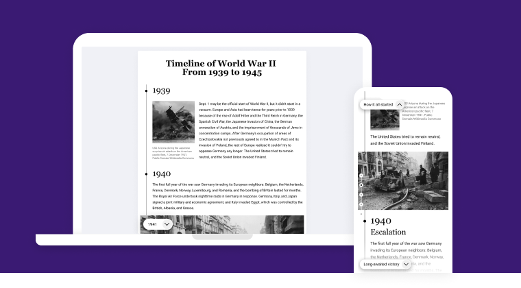 You can create such a timeline with Interacty Timeline Maker
