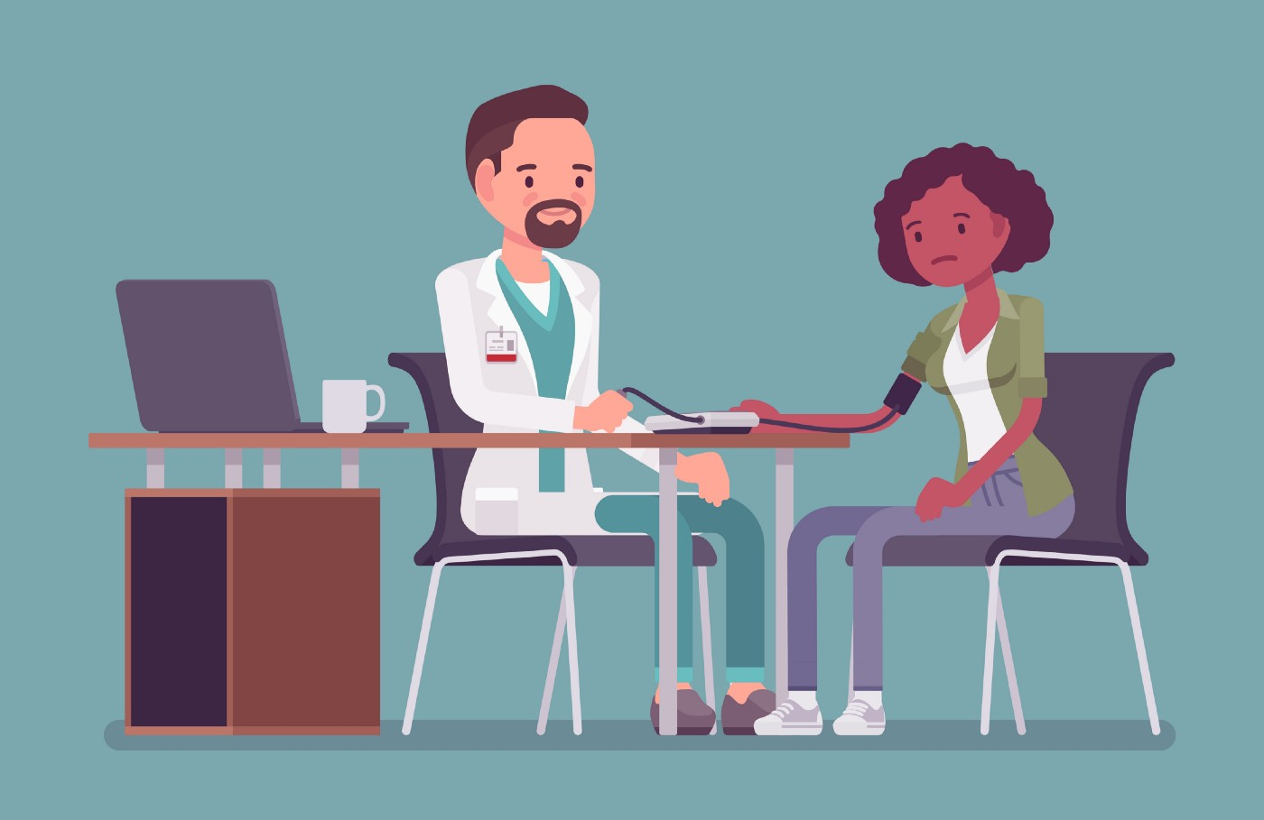 Cartoon of a nervous Black woman sitting across a white male doctor's desk