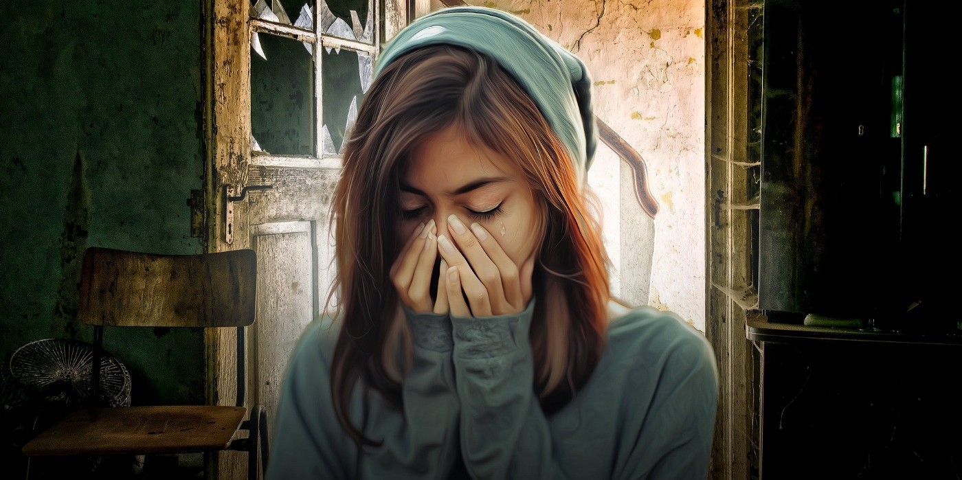 A woman sobs in a dilapidated old house with broken windows