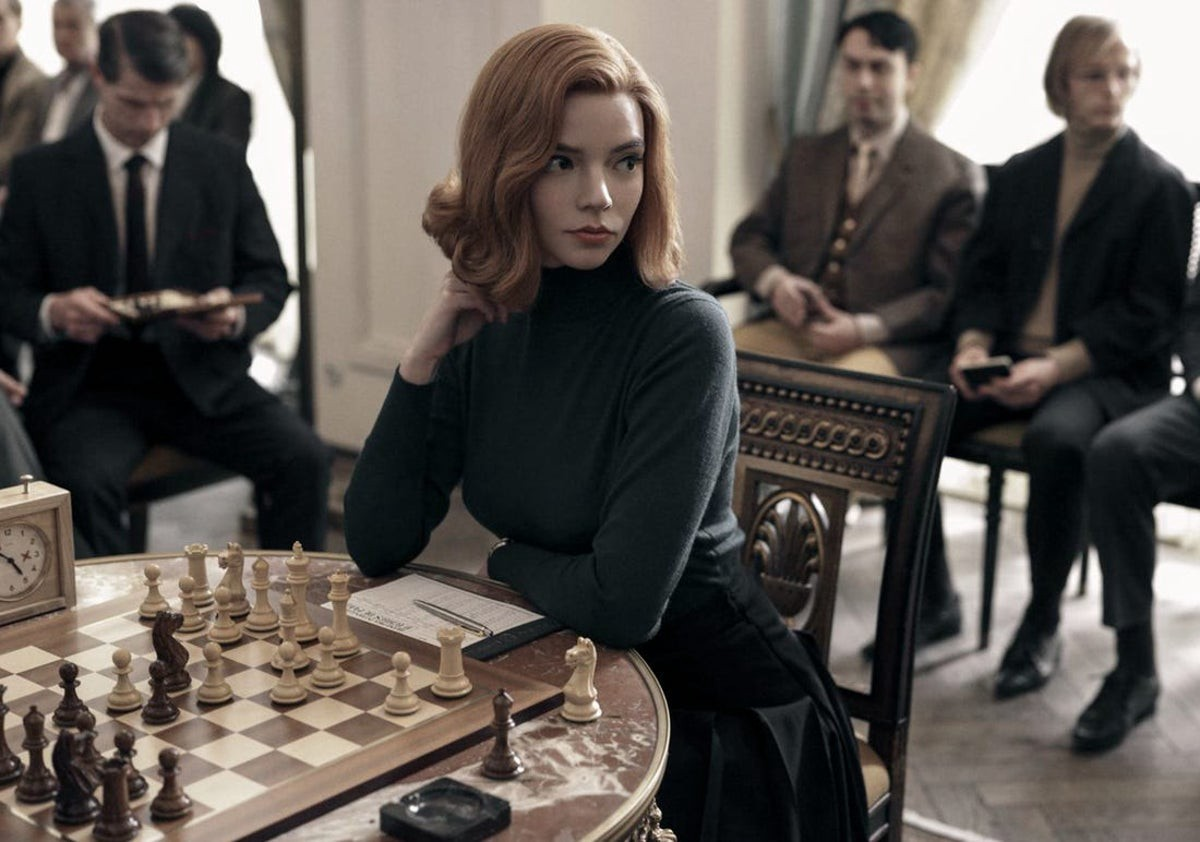 A scene from Netflix's show 'The Queen's Gambit' about chess during The Cold War.