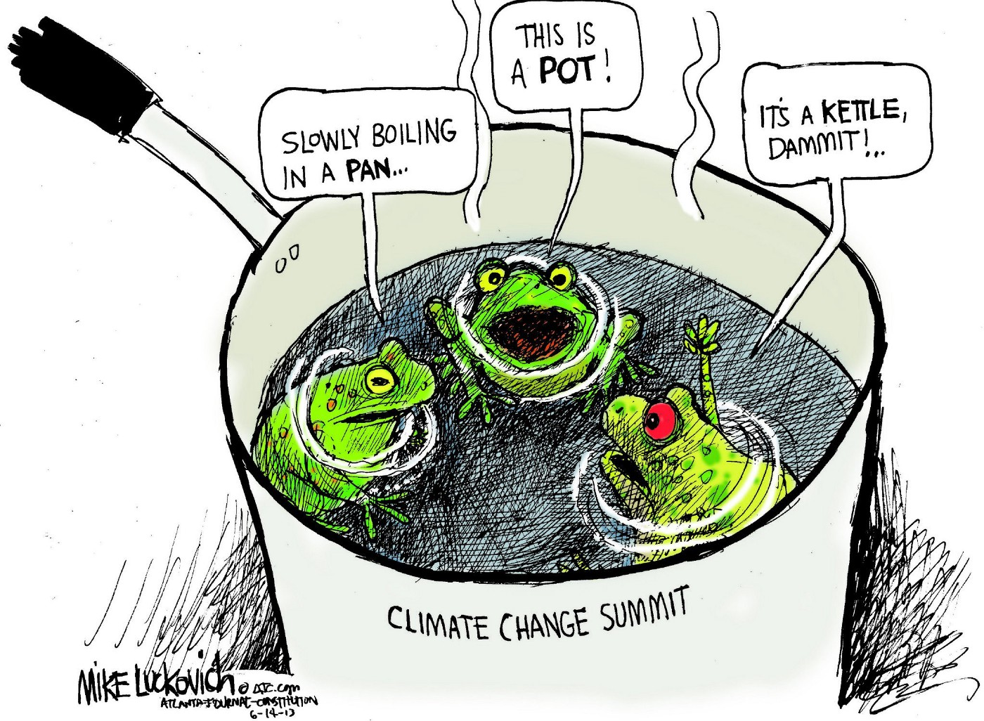 Three frogs in a pot debating terminology. One says they're in a pan, the other says its a pot, the third says its a kettle. The pot is labeled 'climate change summit.'