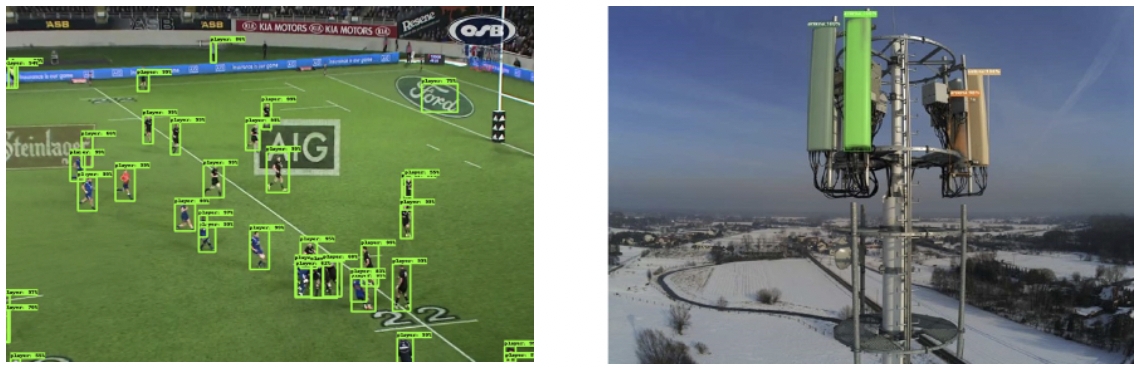 Smart and Safe Cities need Sky Engine AI—The very first evolutionary AI engine designed for deep learning in virtual reality for computer vision applications. Here (left) rugby game deep insights for analytics, and (right) 5G network performance optimization case—3D telecom antenna detection and monitoring.
