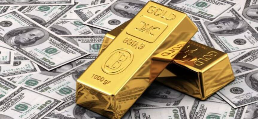 An image showing gold bars and dollar notes, highlighting asset allocation