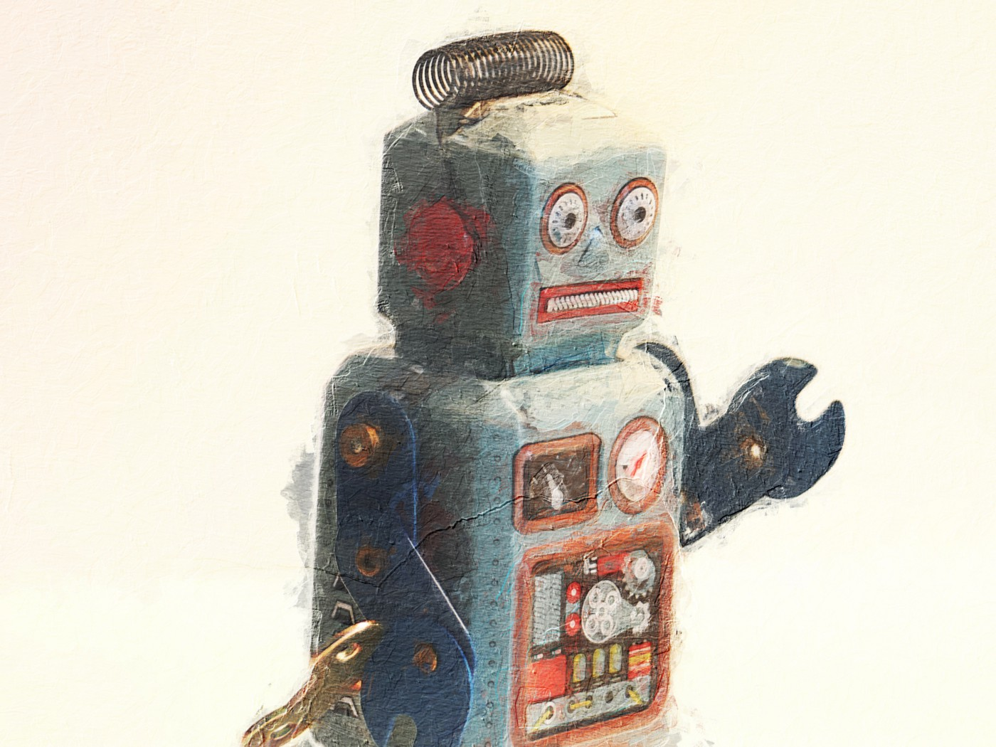 """A toy robot looks to the future of work and apprehensively wonders, """"is this where things are headed?"""""""