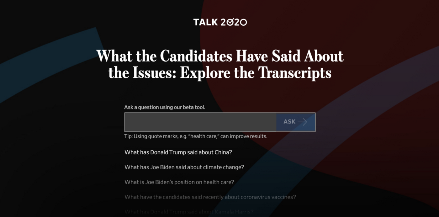 Talk2020 user interface