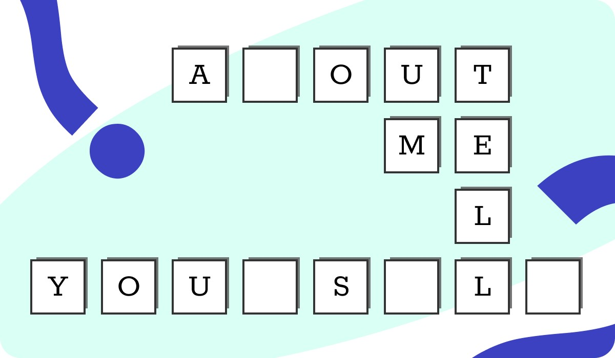 "An image of a cross-word puzzle like illustration spelling out ""Tell me about yourself"""