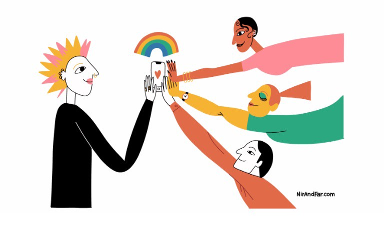 Illustration of people reaching towards a smartphone with a rainbow over the smartphone to represent LGBTQ youth.