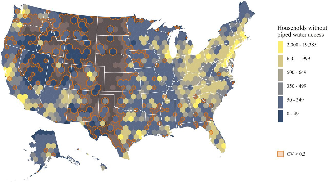 A map of United States households that lack public water hookups.