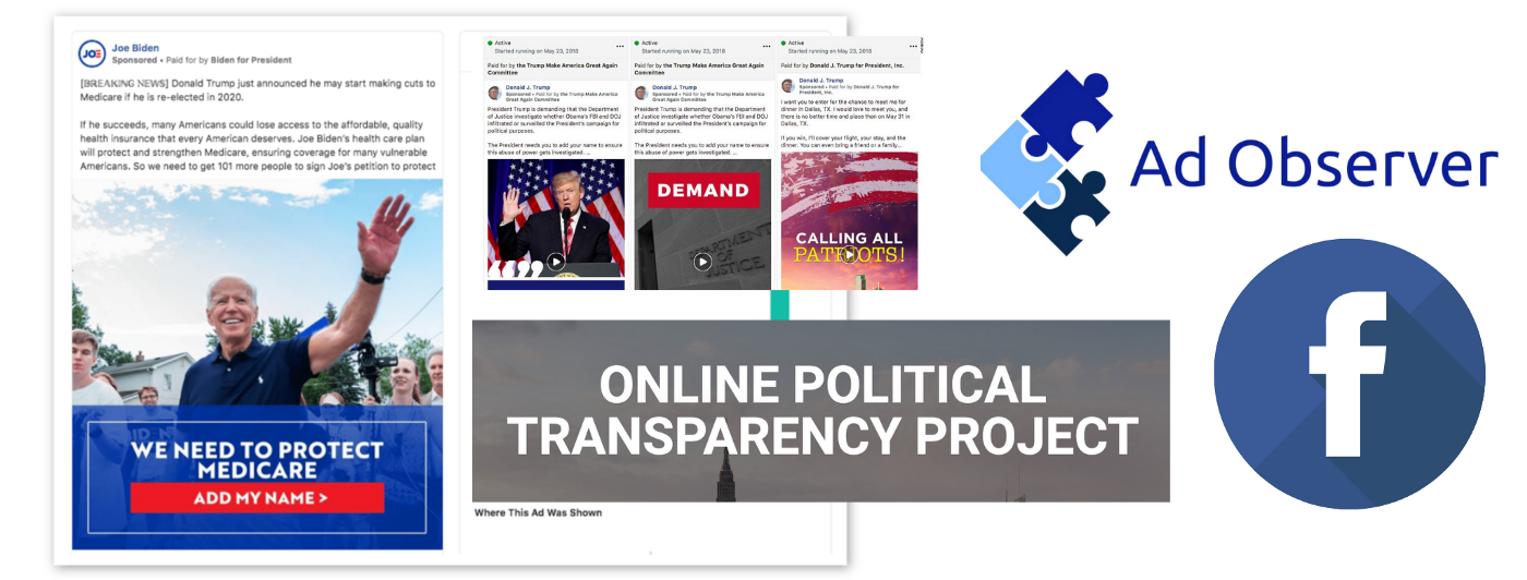 Graphic showing political ads of Joe Biden and Donald Trump, the logo of Ad Observer and the logo of Facebook