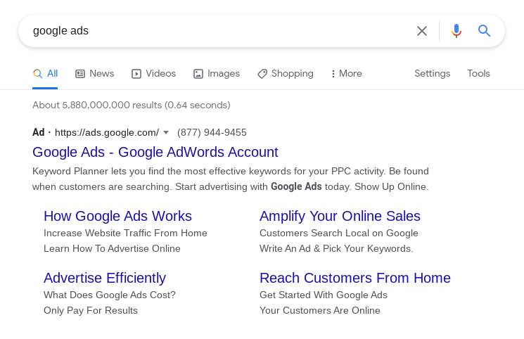 Screenshot of where google ad search tab referencing where to spend your ad budget in 2021