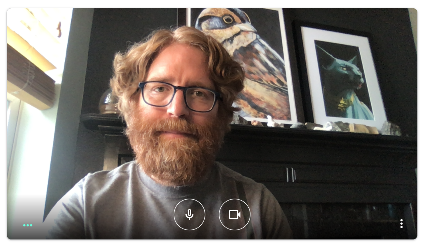 A screenshot from Google Meet, featuring a head and shoulders shot of the author with some art in the background