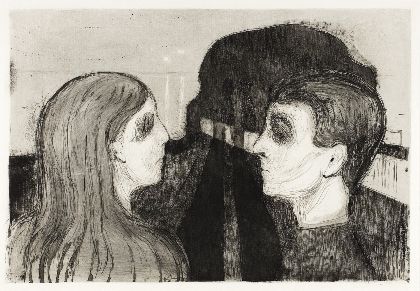 This black and white print by Edvard Munch shows the profile of a woman's head in the left foreground facing and mirroring the profile of a man's head in equal orientation and size. They are staring at each other, their eyes in shadow, looking forlorn. The shadows of their bodies meet in single-point perspective toward the background. There is also a white shape in one-point perspective placed from about the right middle-ground to the background that terminates at about the center of the image.