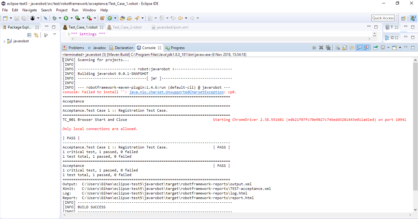Initial step to start writing a test case using Robot Framework and