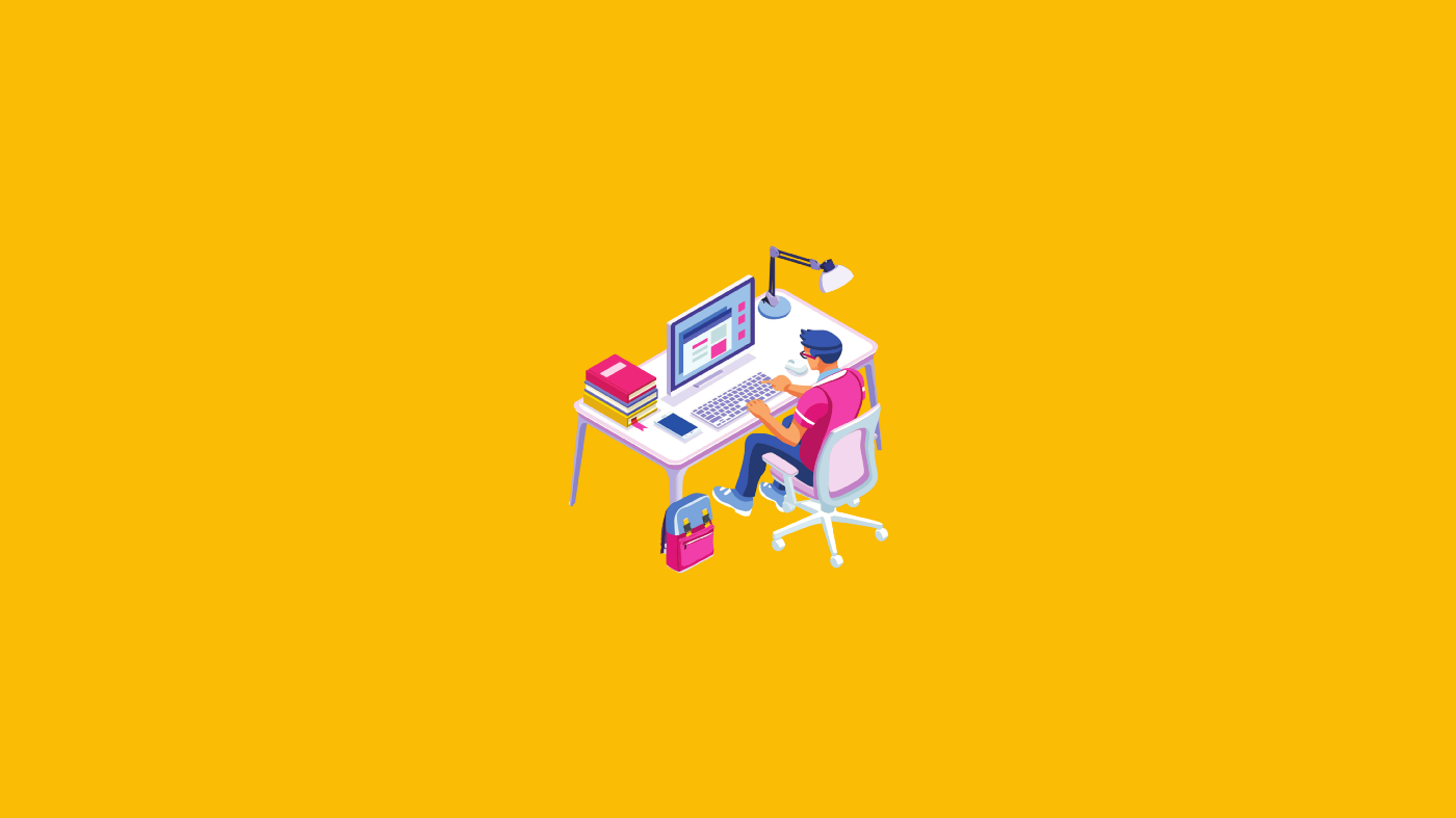 An a graphic of a student working in front of their desk on a computer
