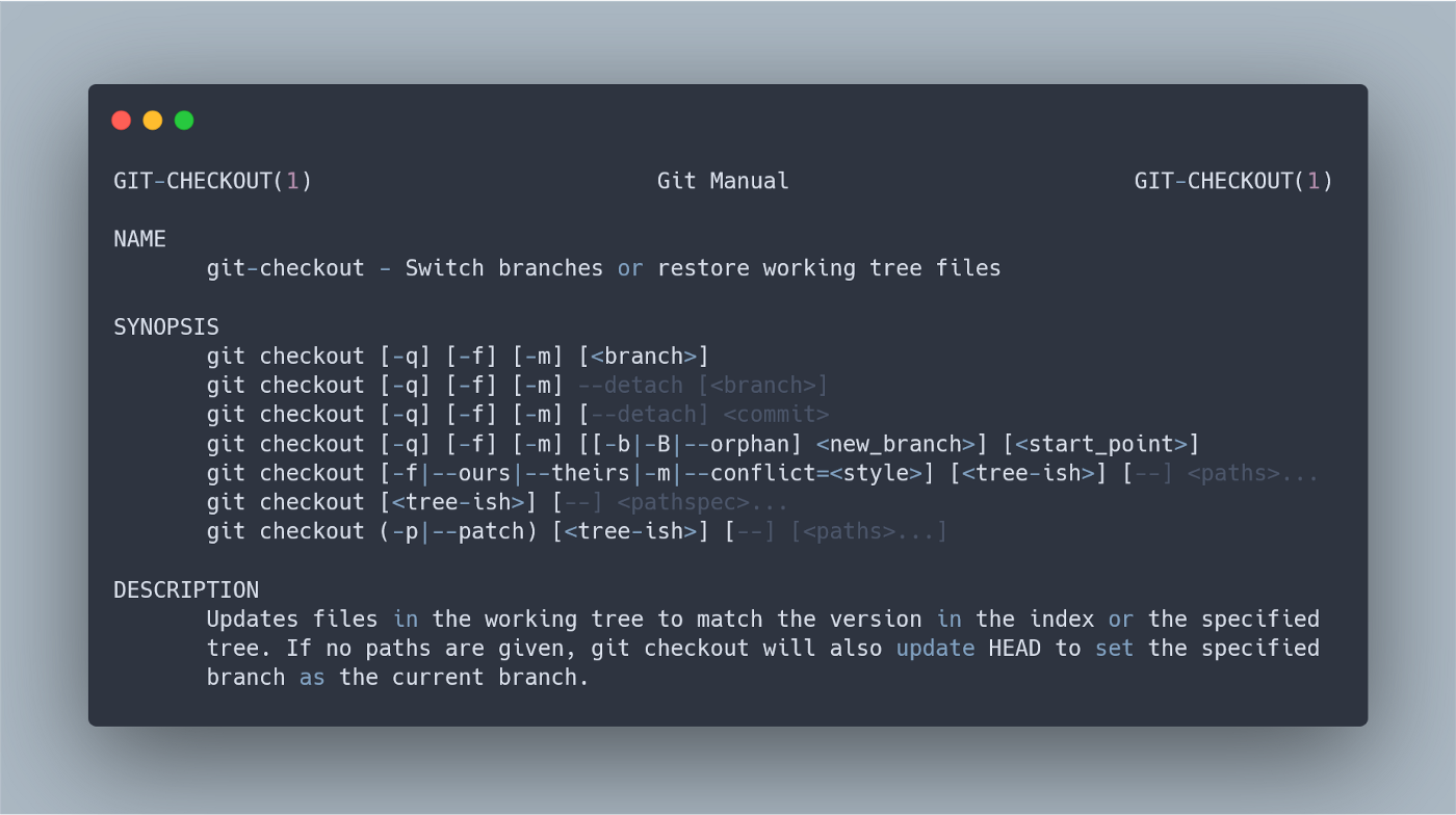 Beginning of the git-checkout man page.