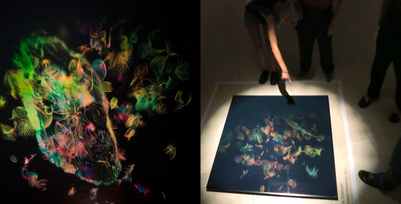 Image of hologram Hyperobject Homeland by Paula Dawson. The image was created by tracing life lines with a haptic pen