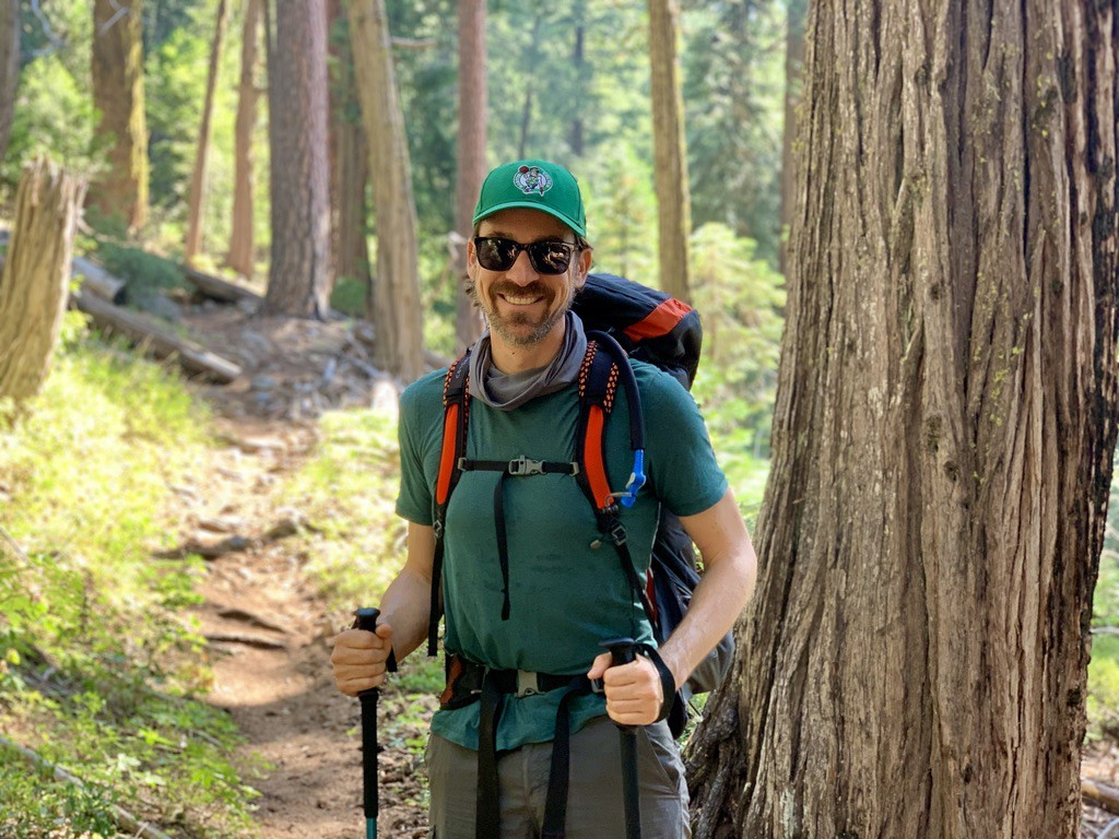 Chris hiking during a recent camping trip