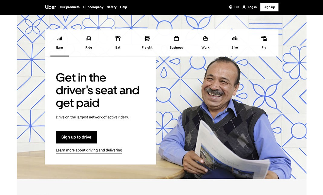 Screenshot of Uber website showing hierarchy by repetition in their menu