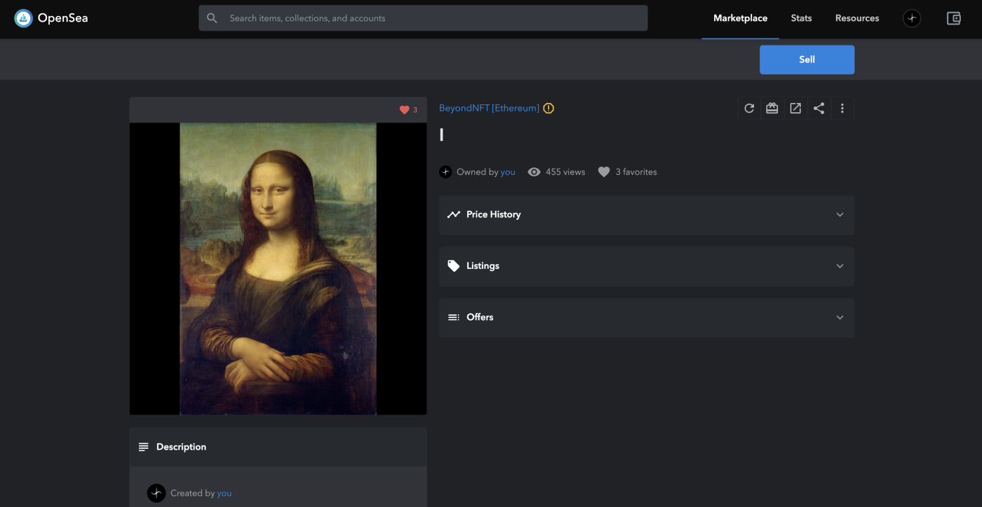 A preview of the NFT token with Mona Lisa as the image
