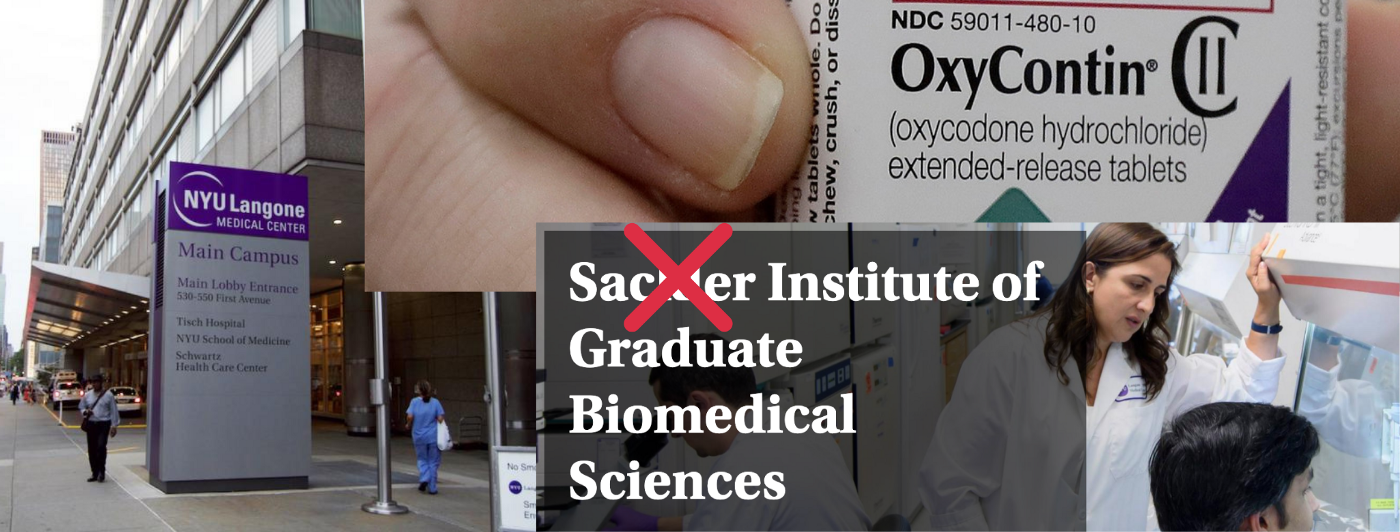 Photo of NYU Langone building and sign, photo of hand holding OxyContin and photo of medical researchers.